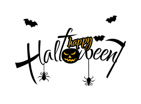Happy Halloween vector lettering on white background. Holiday calligraphy with spider and bat for banner, poster, or greeting card. Black text. Illustration