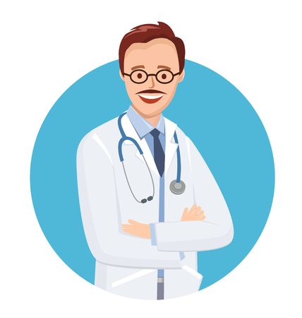Doctor in blue circle on white background. Vector illustration medic in flat style. Doctor with glasses and a mustache. On the neck of a stethoscope. Vectores