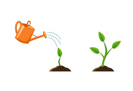 Abbildung mit Pflanzenwachstum. Sprießen Sie in den Boden. Orange Gießkanne. Flacher Stil, Bilder für Banner, Websites, Designs.
