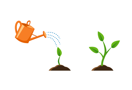 illustration with plant growth. Sprout in the ground. Orange watering pot. Flat style, Images for banners, websites, designs. Vettoriali