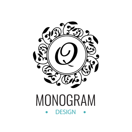 Round black emblem with the letter Q. Template Design monogram with floral motifs. Retro logo for cafes, bars, restaurants, invitations on Wedding