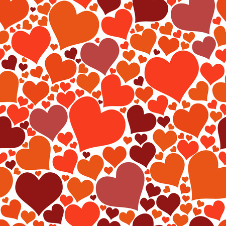Seamless pattern red big and small hearts bright for fabric or design project vector illustration