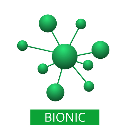 Abstract green molecule vector illustration flat design