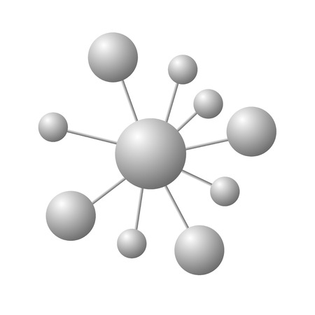 Abstract molecule isolated on white background. Vector illustration of grey molecules.