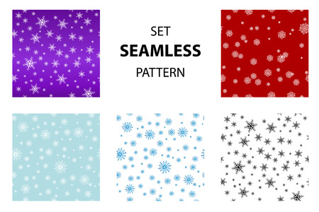 Big set Seamless snow pattern. Simple vector snowflakes on on different colored backgrounds, blue, red, purple, white. Winter illustration snow. Illusztráció