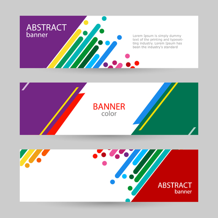 Set horizontal banners with empty place for text. Abstract vector backgrounds. Colorful rainbow stripes on a white background. Vettoriali