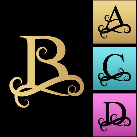 Carta maiúscula para monogramas e logotipos. Fonte filigrana bonita. Carta de vetor preto A, B, C, D. Design moderno logotipo de elemento Logos