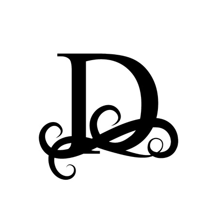 Capital Letter for Monograms and Logos. Beautiful letter. Black vector letter D. Design modern element logotype on white background.
