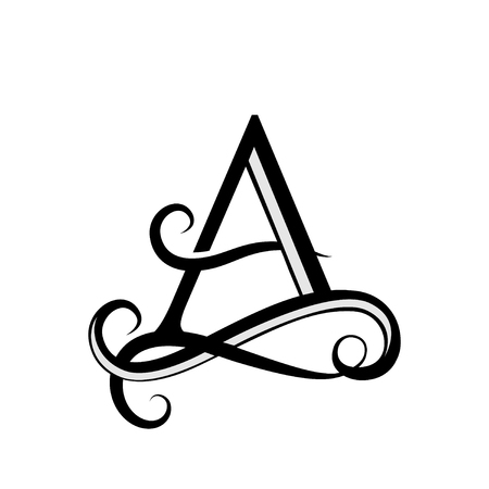 Lettera maiuscola per monogrammi e loghi. Bella lettera Lettera nera di vettore A. Logotype moderno dell'elemento di progettazione. Logo