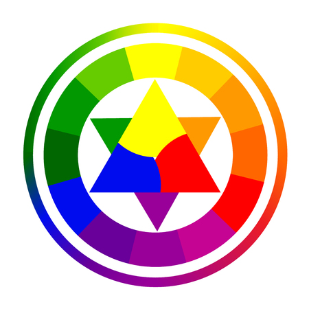 Vector illustration of color circle of twelve colors. Gradation of colors in the circle.