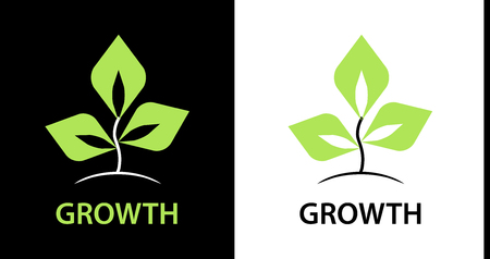 The logo for the company engaged in the cultivation of plants. Sign of green leaves on white and black background. Logo vector - abstract tree.