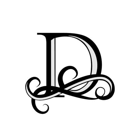 Capital Letter for Monograms and Logos. Beautiful letter. Black vector letter D. Design modern element logotype.