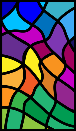 Vertical vector illustration stained glass. Rectangular abstract colored glass. Illustration