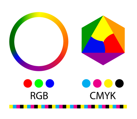 Vector illustration of color circle. Gradation of colors in the circle. RGB and CMYK.