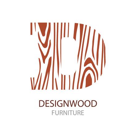Logo letter D, houten meubels. Vector illustratie, concept van zaag gesneden boomstam, geïsoleerd op een witte achtergrond voor bosbouw en zagerij. Logo-ontwerp trendy modern