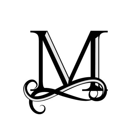 Capital Letter M for Monogram and Logo on white background. Illustration