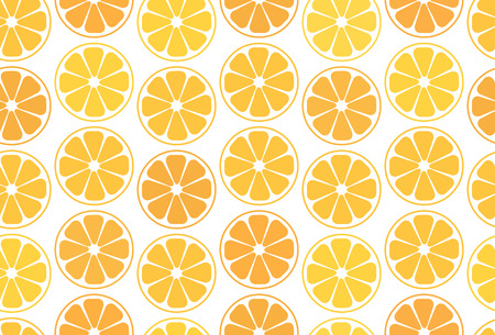 Simple seamless pattern, orange oranges or tangerines on a white background. For your business projects for web or print. Cut slices of orange and citrus Illustration