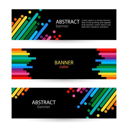 arrière-plans abstraits de vecteur pour les bannières . ligne sur fond noir . couleur avec ligne avec des points lumineux Vecteurs