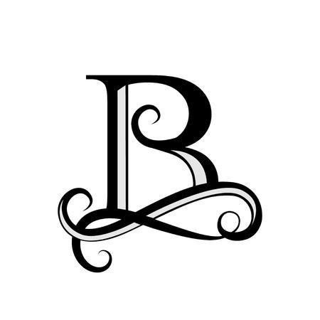 Maiuscola B per monogrammi e simbolo. Bella lettera Black vector letter B. Design moderno elemento