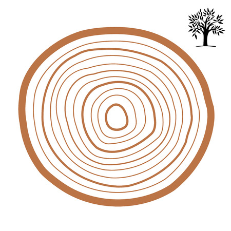 Cross-section of a tree abstract ring. Vector symbol isolated on white background.