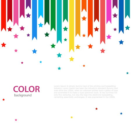 Abstract vector color background with empty place for text. Abstract colorful rainbow rain. Color line with bright stars.
