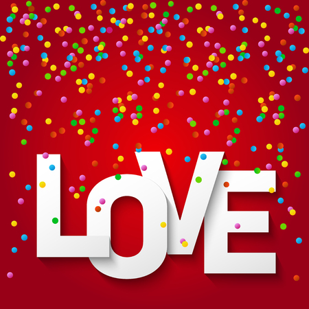 Vector illustration card, banner, flyer, template. Happy valentines day and weeding design elements. Confetti on red background and the word Love. Be my Valentine.