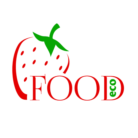 Design modern logos for Business. Bright colored strawberry into a flat style. On white background. Logo eco food. Vettoriali