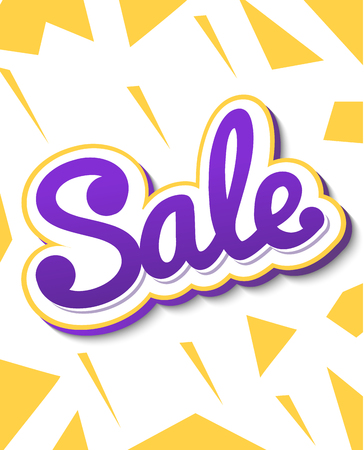 A colour banner for advertising sales. Bright shards on a white background. Bulk violet text Sale. Vector illustration of autumn sales. Illustration
