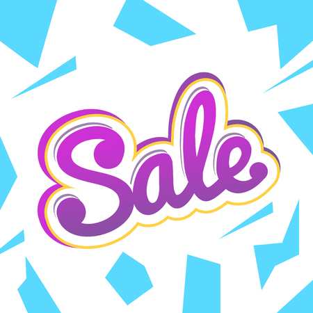 A colour banner for advertising sales. Bright shards on a white background. Bulk violet text Sale. Vector illustration of winter sales.