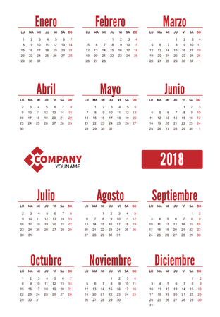 Spanish vertical calendar 2018. Week starts from Monday. Vector template pocket calendar for business on white background. 向量圖像