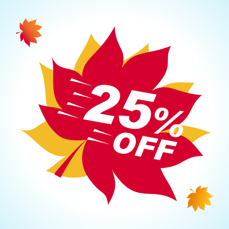 Bright banner for autumn sale. Discount 25 off on background red leaf. Sale Red Tag Isolated Vector Illustration. Discount Offer Price Label.