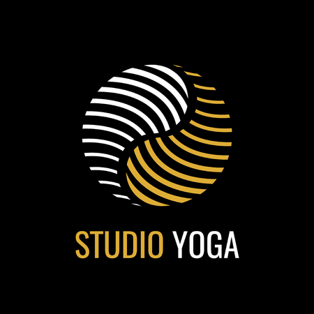 Abstract gold symbol Yin Yang on black background. Vector logo for studio yoga or vegan cafe. symbol of harmony and balance. Vettoriali