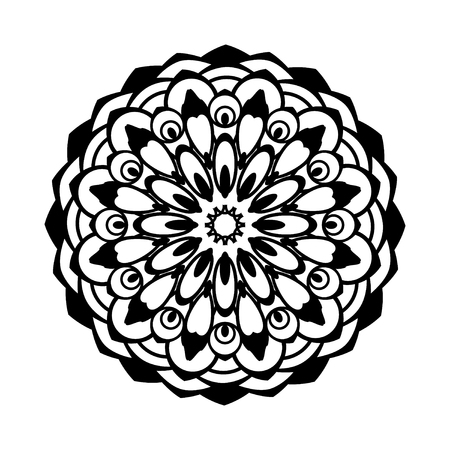 Black floral pattern. Oriental circle pattern. Laser cutting mandala. Vector coaster design.