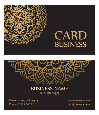 Business card with circle gold ornaments. for yoga center or Studio beauty. Vector illustration.