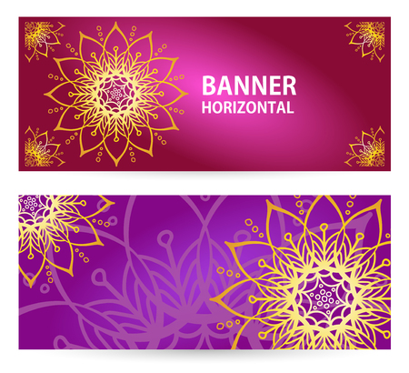 colored Horizontal banners with Oriental motifs. For the yoga Studio or beauty
