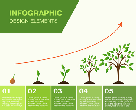 Infographic-growing tree, the growth of Finance. vector illustrator