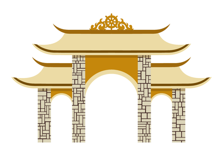 Simple Thailand traditional pagoda. illustration of a gate. Isolated on white background. Illustration