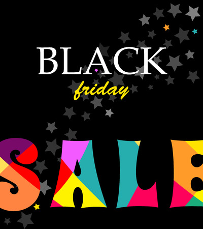 Black Square banner with text Sale black Friday. With bright Colored letters SALE. Vector illustration for poster. Illustration