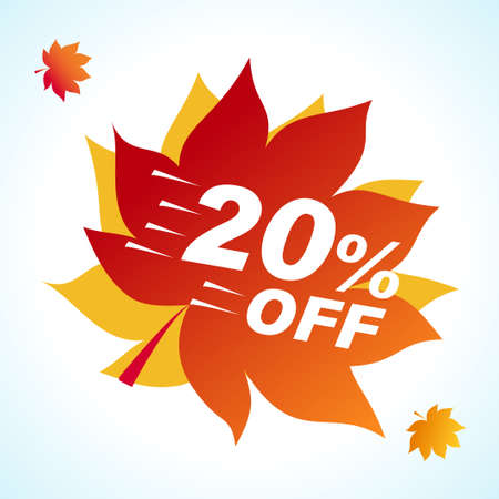 Bright banner for autumn sale. Discount 20 off on background red leaf. Sale Red Tag Isolated Vector Illustration. Discount Offer Price Label. Çizim