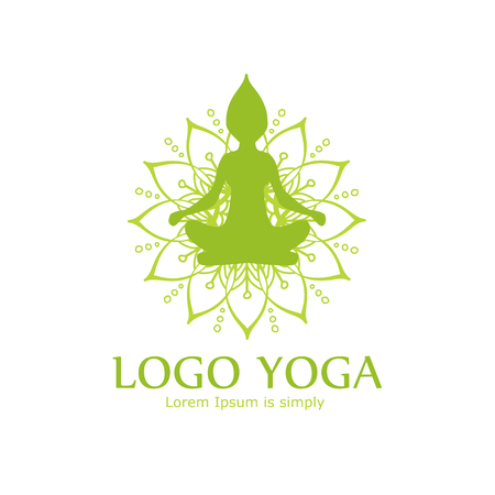 Green Vector Logo for Yoga center. Isolated on a white background. White flower and a silhouette of a girl in Lotus position. Harmony insignia design. Illustration