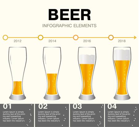Éléments d'infographie de bière. chronologie des réalisations. Verres de bière, les différents niveaux de la boisson. La croissance du petit au grand. Modèle de présentation avec la bière évolution. Isolé sur fond blanc. Vecteurs