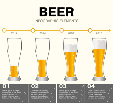 Beer Infographic elements. timeline of achievements. Glasses of beer, the different levels of the drink. The growth from small to large. Presentation template with the evolution beer. Isolated on white background.