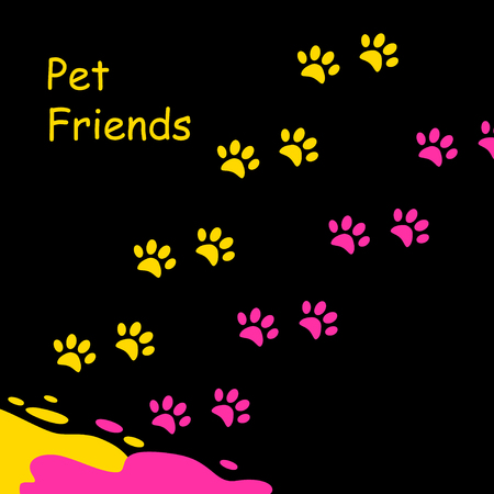 Pets friend on black background. A bright puddle of yellow paint and red and colored footprints kittens around. Illustration