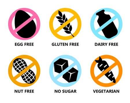 Set Symbols in prohibiting colored circle. Vector icon egg free, gluten, dairy, nut, no sugar, vegetarian. Illustration isolated on white background. Vettoriali