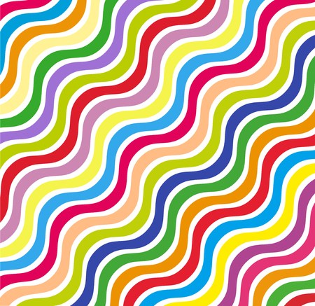 Wave pattern template. curved lines on white background in rainbow colors. Graphic vector background.