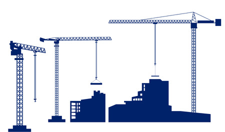 Set tower crane builds a house. Dark blue silhouettes of buildings and cranes isolated on white background. Vector illustration.