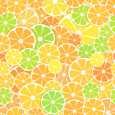 Vector seamless Pattern background. sliced halves of citrus fruits oranges, tangerines, lemon and lyme. For business projects banner, cover, layout.