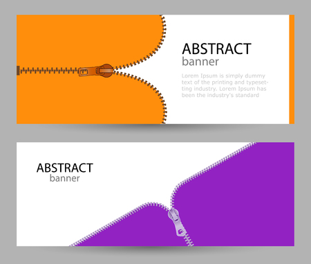 Set horizontal banners with empty place for text. metal zippers on orange and pink colors. banner templates for your projects. Vectores