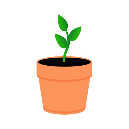 A young plant in an orange pot. Green leaves sprout in pot. Flat style. Ilustração Vetorial
