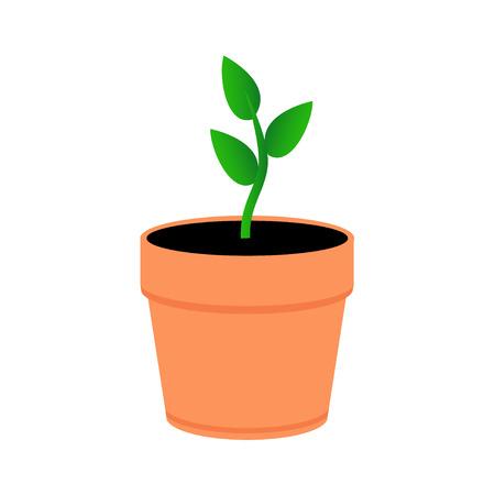 Eine junge Pflanze in einem orangefarbenen Topf. Grüne Blätter sprießen im Topf. Flacher Stil. Vektorgrafik
